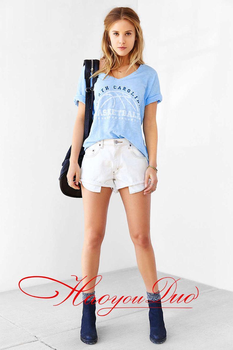 2016 nueva llegada de algodón de terciopelo azul suelta Tops camisetas de manga corta carta de impresión North Carolina Basketball T Shirt para mujeres