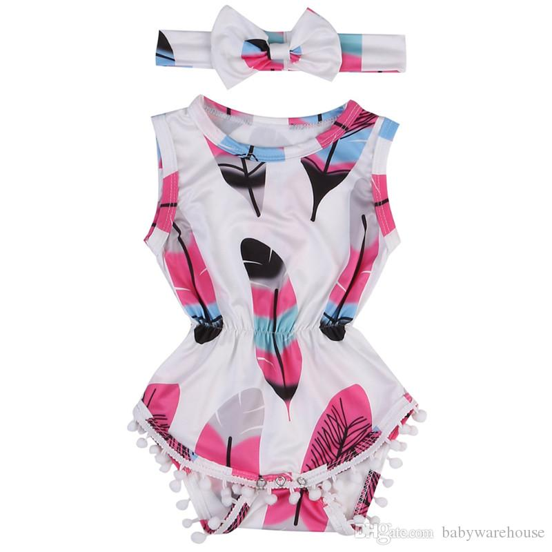 3bc06f34c5fc 2019 Newborn Baby Girl Rompers Cute Baby Clothes Jumpsuit Outfit Feather  Printed Tassel Romper + Headband Summer Girls Suit Kids Clothes Set From ...