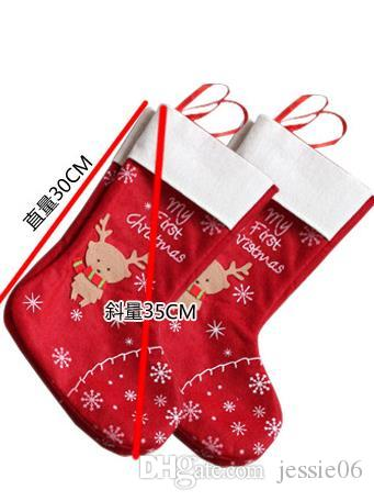 Christmas Decorations snowflake deer Christmas stocking gift bag candy apple bags wrap long stockings socks red Festive Party Supplies EMS