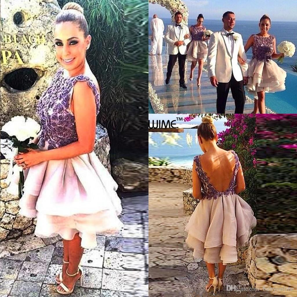 2016 summer beach short bridesmaid dresses floral appliques lace 2016 summer beach short bridesmaid dresses floral appliques lace wedding party gowns cap sleeves backless ruffles organza cocktail dress cute bridesmaid ombrellifo Image collections