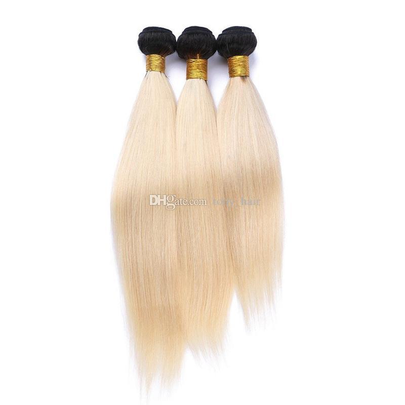 Radice scura 1B 613 Ombre Capelli lisci tessere con chiusura in pizzo con pacchi 1B Bionda Ombre trame capelli umani con 4 * 4 chiusura superiore