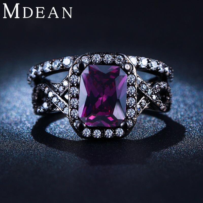 Acheter Mdean Noir Plaqué Or Violet Améthyste Bijoux Cz Diamant De Mariage  Anneaux Pour Les Femmes De Fiançailles Bague Bijoux De Luxe Msr224 De  6.11  Du ... 4b8523660ff6
