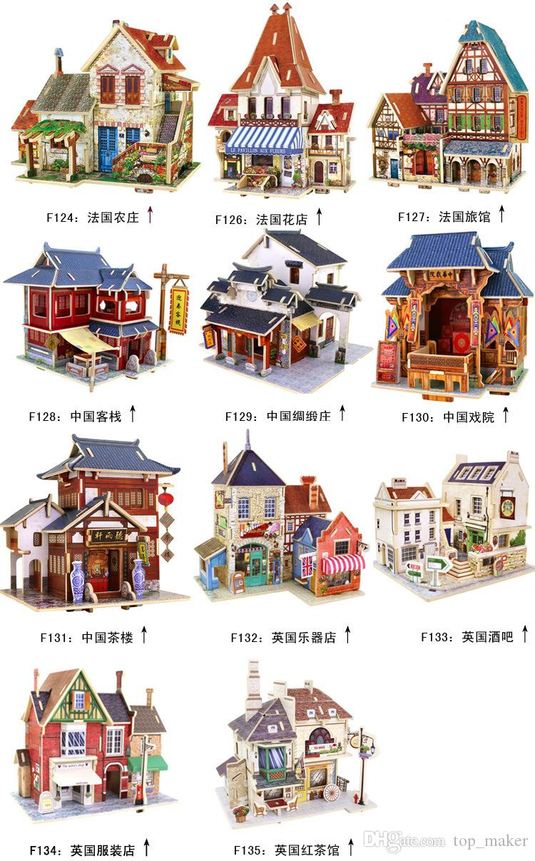 Uncategorized Child Puzzles 2017 wholesale cheap different countries kids wooden puzzles 3d theatre tea house tavern famous chinese building adult child kid puzzles