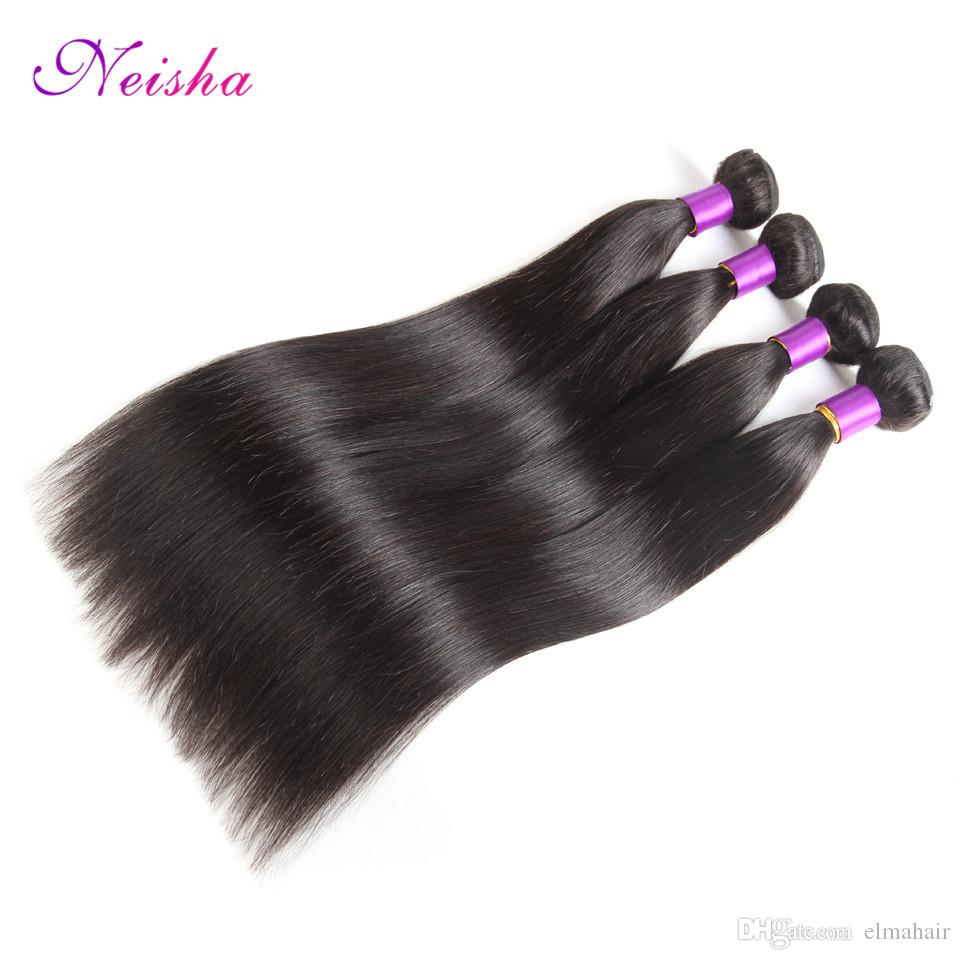8A Great Brazilian Human Hair Weave Straight Hair 4 Bundles Cheap Malaysian Indian Peruvian Virgin Hair Straight Wefts Natural Color