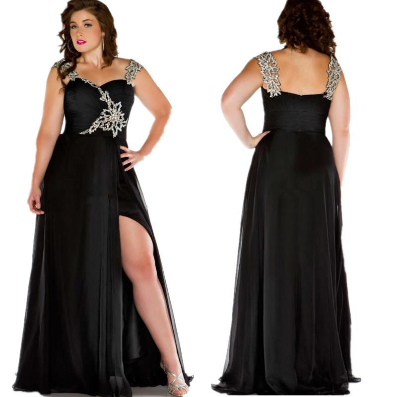 Black Plus Size Dresses Evening Wear Spaghetti Straps Pleats Beaded Chiffon  Maxi Special Occasion Dress Formal Party Prom Gowns