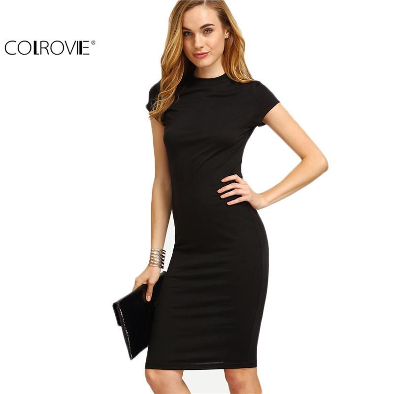 Colrovie Women S Work Wear Sheath Dresses Sexy Newest Solid Black
