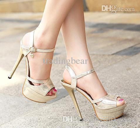 sexy zapatos de tacón alto elegantes diamantes de imitación oro tacones  zapatos de la boda de