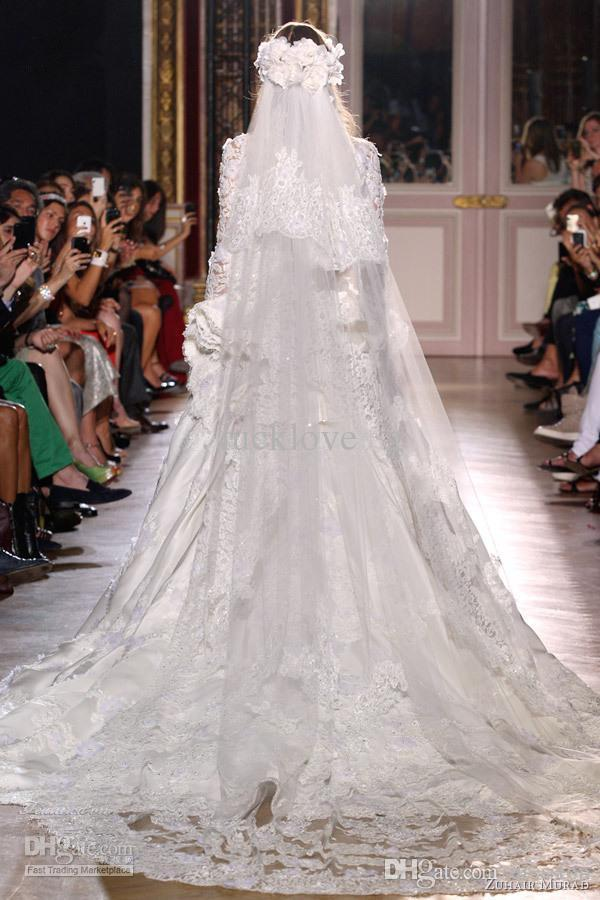 Luxry Zuhair Murad 2 Tiers Long 3 M Cathedral Lace Edge Bridal Mantilla Wedding Velare Pettine