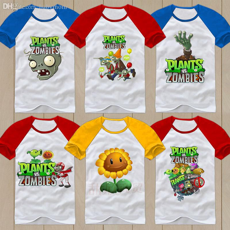 75b8a8027bb0 Wholesale-Summer Plants Vs Zombies T-shirt 100% Cotton Children's ...