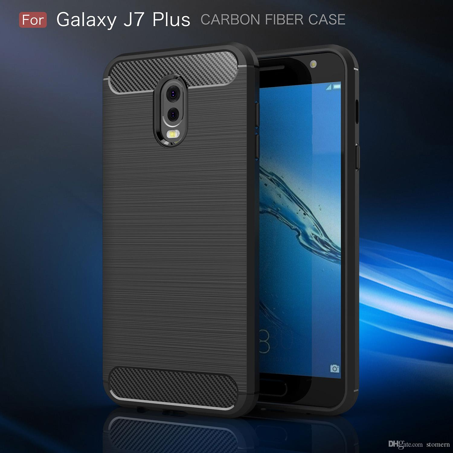 competitive price f4ee9 d92f6 Carbon Fiber Case For Samsung Galaxy J7 Plus J5 J7 2015 2017 J510 J710 2016  Prime ON5 ON7 Brushed Silicone Soft Rubber Back Cover