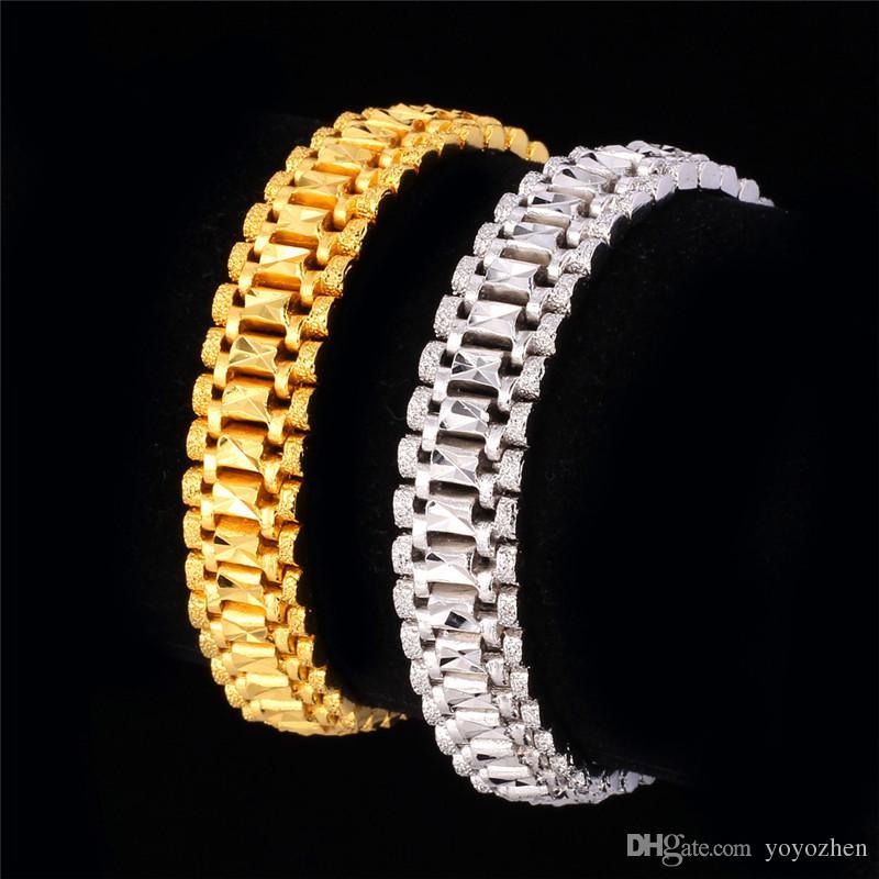 18 K Altın Bilezik Erkekler Takı Rock Tarzı Platin Kaplama 19 cm 12 MM Kalın Zincir Bağlantı Bilezik Toptan
