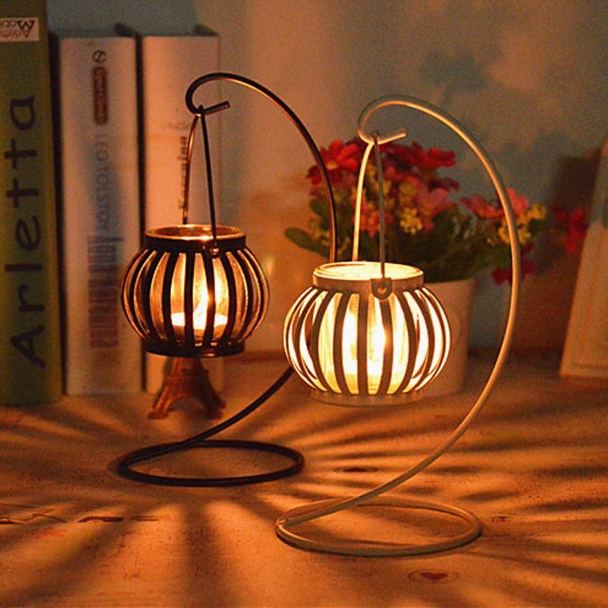 New European Retro Metal Iron Antique Candlestick Pillar Tea Light ...