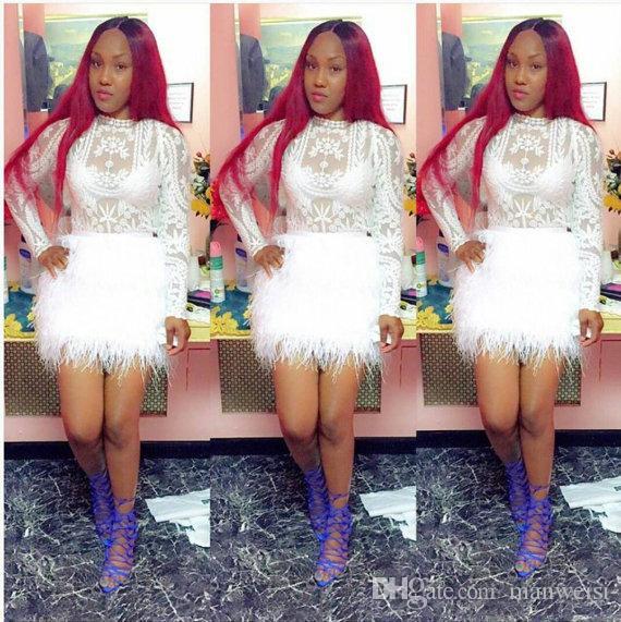 Sexy Feder Cocktailkleider mit langen Ärmeln Mantel Spitze Applique Short Prom Kleider Günstige Mini Formal Party Dress