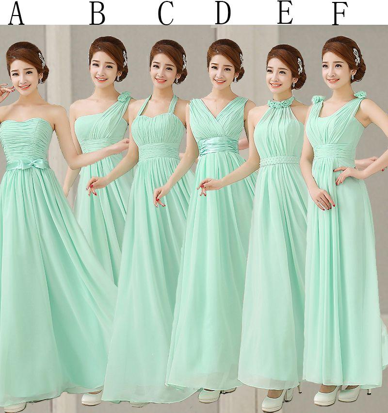 2015 Turquoise Bridesmaids Dresses Empire Pleats Chiffon Long