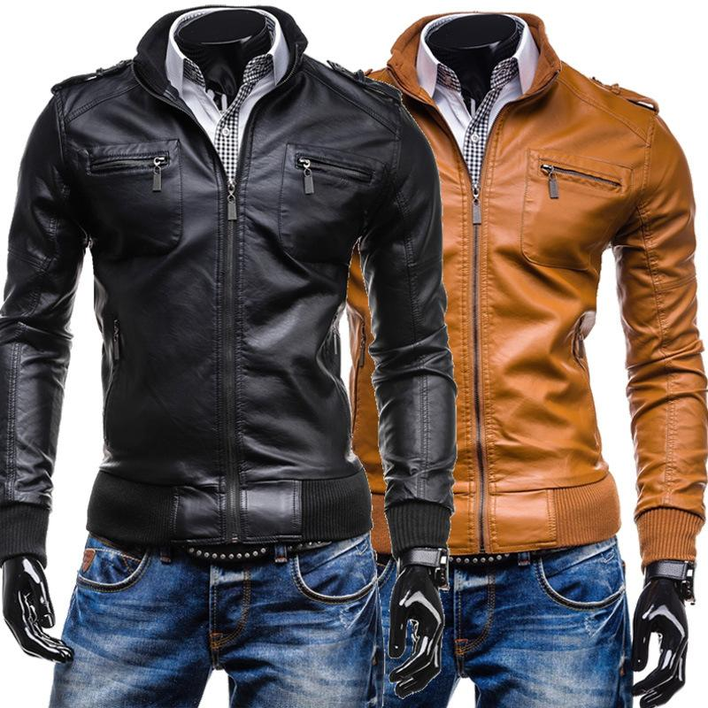 Veste Cuir Homme Promotion Full Thin Mens Leather Jackets And Coats Menu0027s  Leather Goods Wholesale Collar Pocket Casual