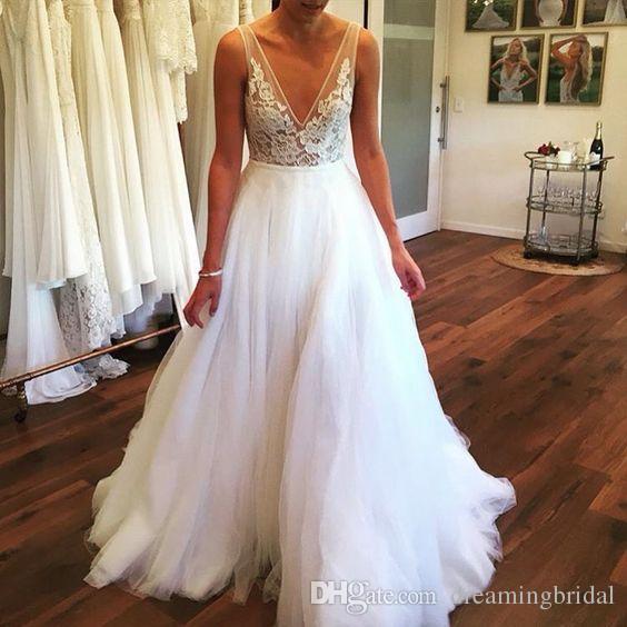 Tiefer V-Ausschnitt A Line Brautkleider Sleeveless Einfache Spitze Applique Bodenlangen Brautkleid Günstige Kleider Plus Größe