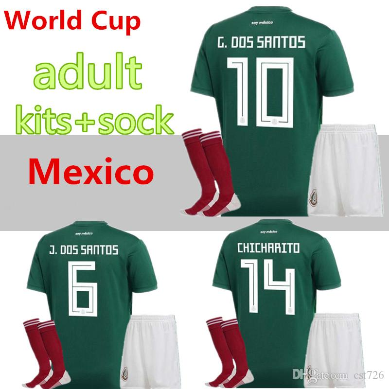 Mexico National Team Adult Mexico Kits+Socks Soccer Jerseys Home Green Men  Set 2018 World Cup G.Dos Santos CHICHARITO Football Shirts UK 2019 From  Cst726 701c071b1