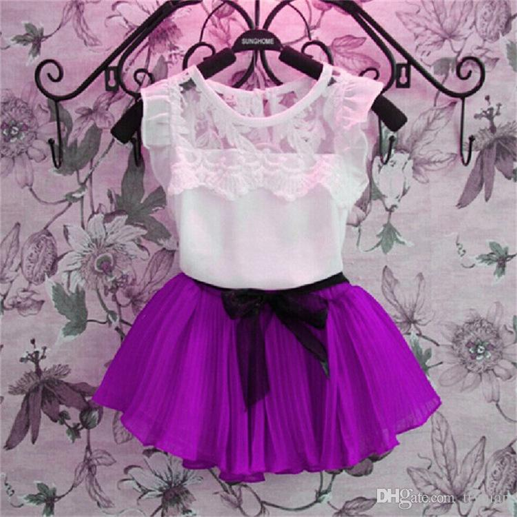 Kids Baby Girls Clothing Toddler Clothes Summer Chiffon Lace T shirt+Tutu Skirt Tracksuit Sets Suit For Girls Set New 2018 30