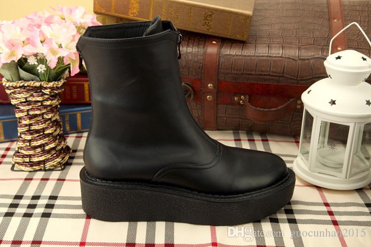 2015 Fashion British Style Casual Black Men Genuine Leather Pantshoes Ankle Shoes Thermal Winter Slip-on Snow Boots Rain Boots For Men 38-45