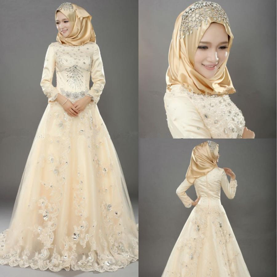 Discount muslim wedding dresses indian style vintage tulle bridal discount muslim wedding dresses indian style vintage tulle bridal dresses with lace applique crystal beads long sleeve islamic wedding dresses princess ombrellifo Image collections