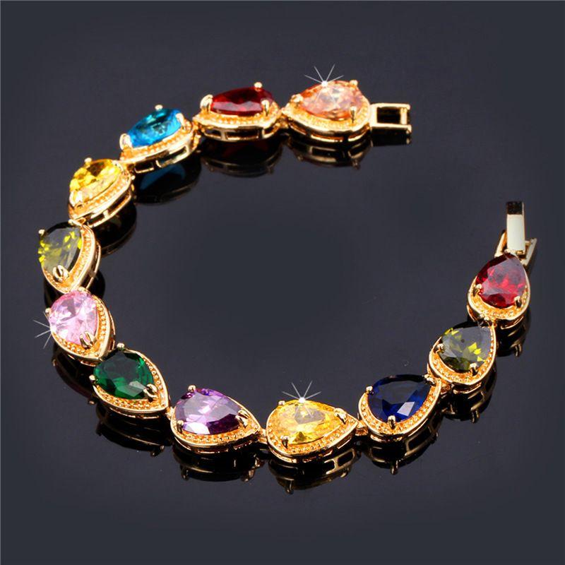 Women's Teardrop Cubic Zirconia Jewelry Gift for Girls Platinum/18K Gold Plated Colorful Gemstone Tennis Bracelet