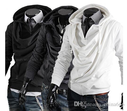 2015 hombres de la moda del diseño del collar de la marea de los hombres de la personalidad casual Slim con capucha con capucha chaqueta suéter capa. @ 897f