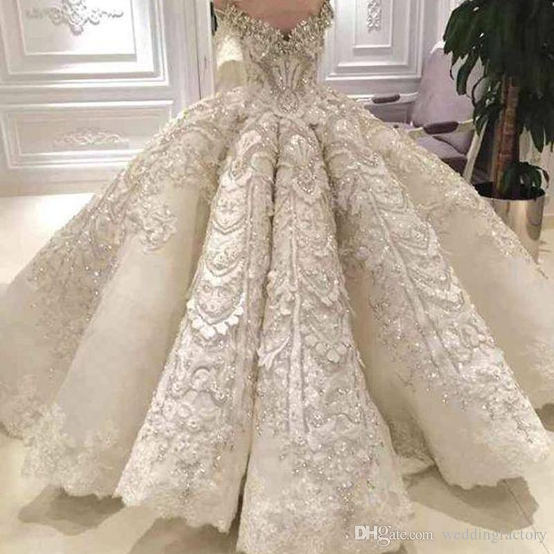 Luxury Ball Gown Wedding Dress Off The Shoulder Sparkly Crystals ...