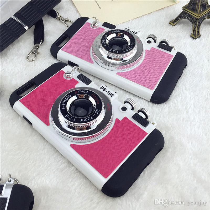 Camera Phone Cases Cover For iPhone 7 7s 7G Silicone Anti-knock Cell Phone Case For iPhone 7 4.7 inch Shoulder Strap Bag