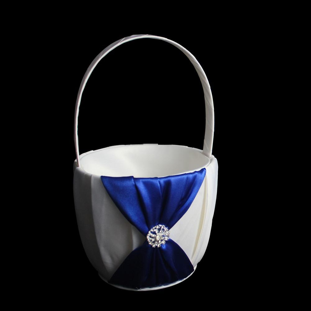 2018 Royal Blue Wedding Flower Girl Basket With Satin Bow For 2014