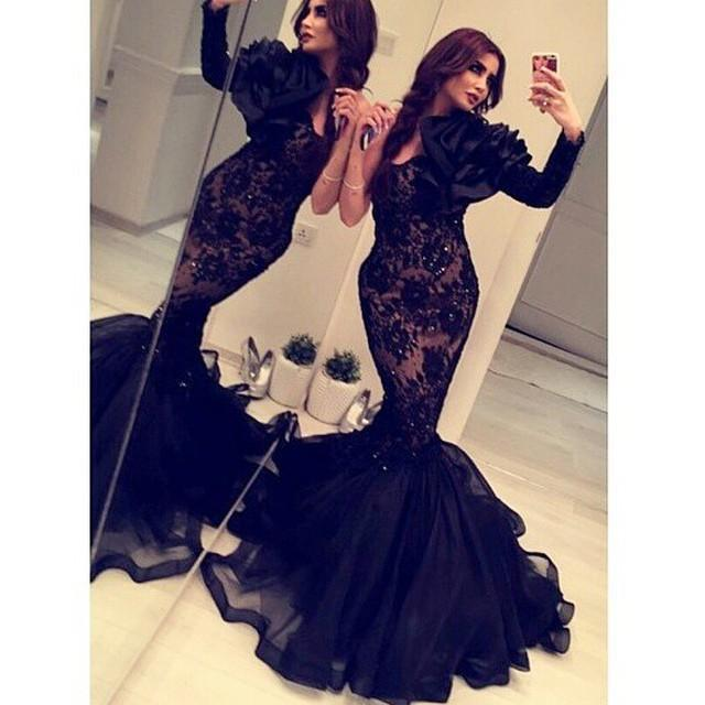 2016 Arabic Dubai Black Lace African Mermaid Evening Dresses Illusion Long Sleeve Sequins Middle East Party Prom Gown Ruffles One Shoulder