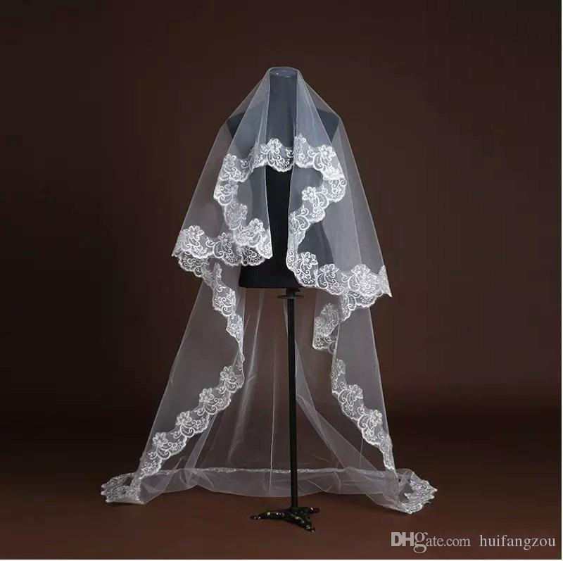 Hot Sale Cheap Tulle White Bridal Veils Fingertip Length One Layer Applique Edge Wedding Dress Accessories