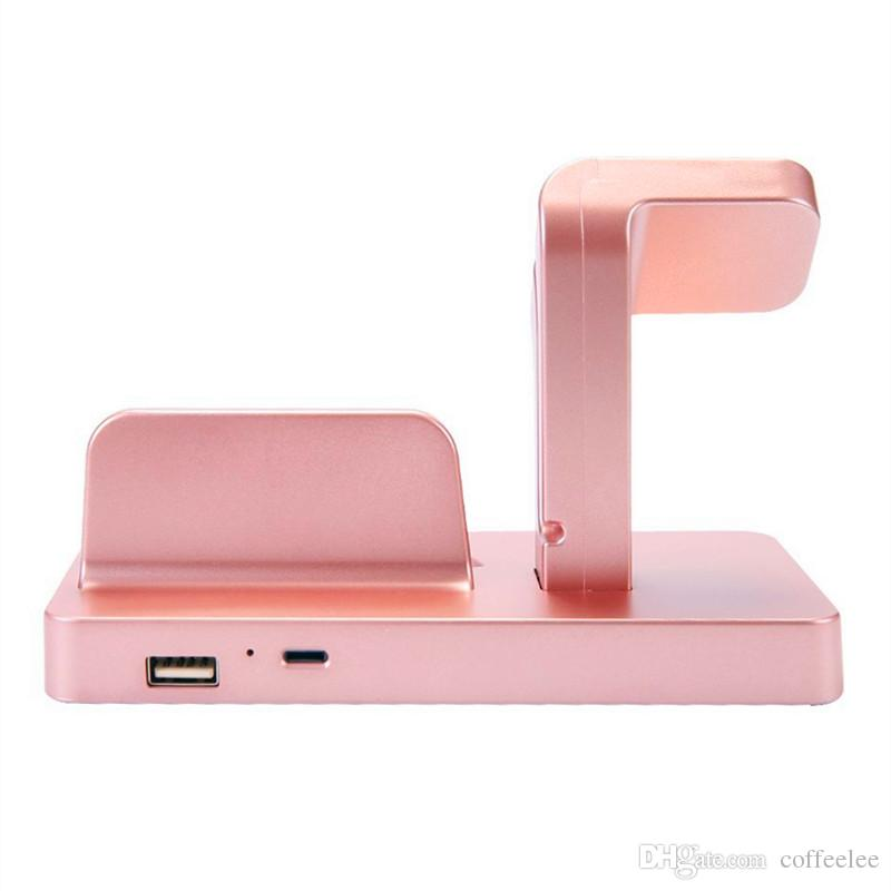 For IWatch and IPhone 2 In 1 Fast Charging Stand Bracket Docking Station Suit for Office Car Home Desktop Storage Mobile Phone Cradle Holder
