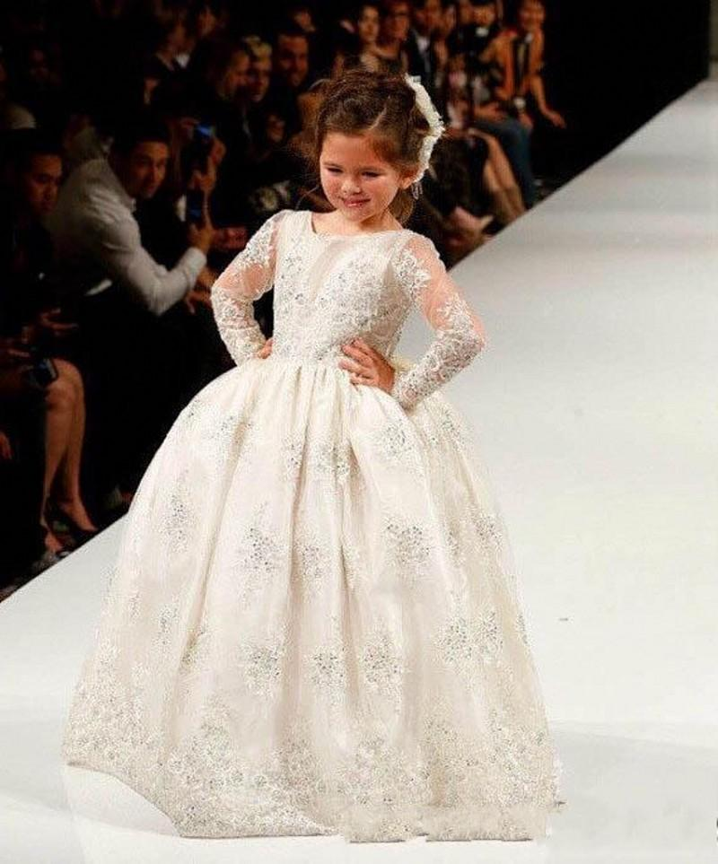 Vintage Long Sleeve Flower Girl Dresses For Wedding 2016 Lace Applique Ball Gown Princess Girls Pageant Gowns Floor Length Party Dresses