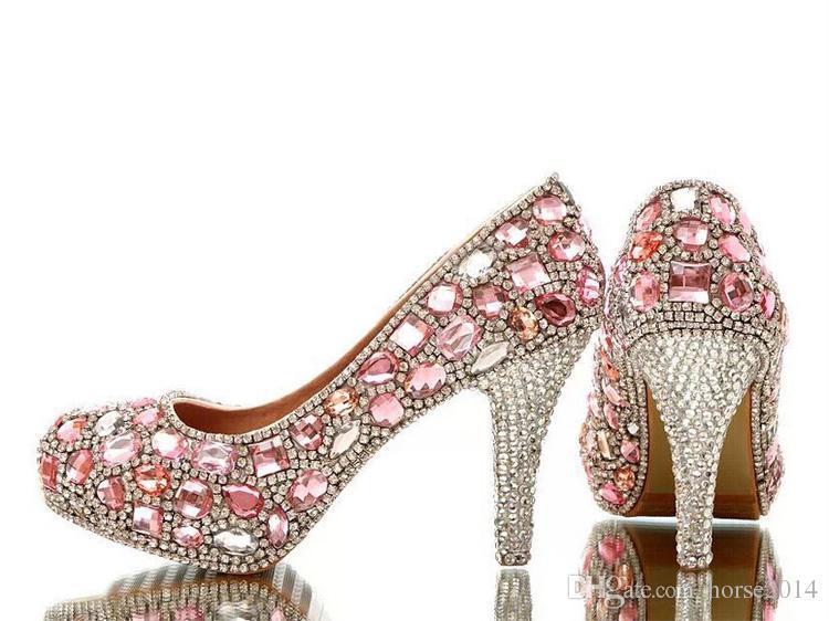 Piękne różowe kryształowe buty ślubne Wspaniałe Rhinestone wysokie obcasy Handmade Luksusowa Lady Evening Prom Girl Birthday Party Shoes