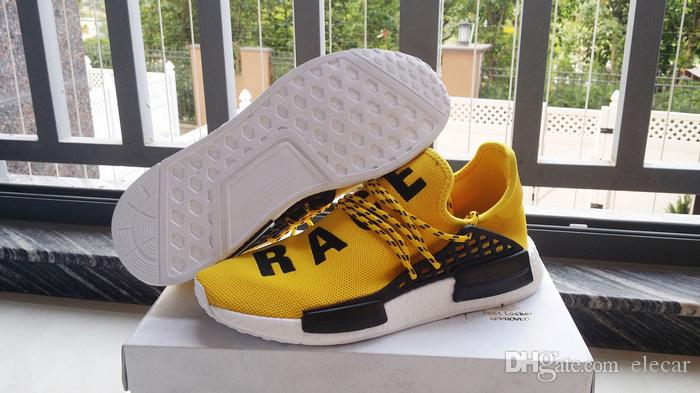 Zapatillas de running calientes Human Race Lightweig Pharrell Williams Zapatillas blancas amarillas amarillas descuento para mujeres zapatillas de deporte con tamaño de caja US 5-11