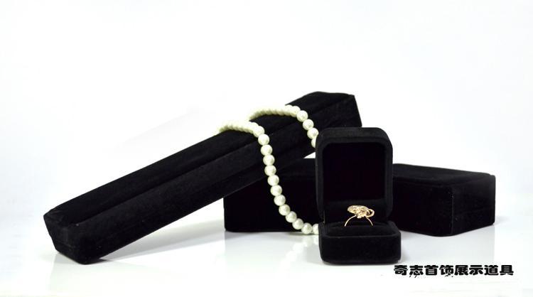 Wholesale Jewelry Box High Quality Brand Sponge Black Velvet Fine Jewellery Gift Packaging Ring Bracelet Necklace Pendant Bangle Boxes