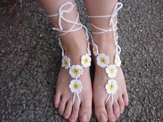 Compre Daisy Crochet Sandalias Descalzas Sandalias De Ganchillo Sin ...