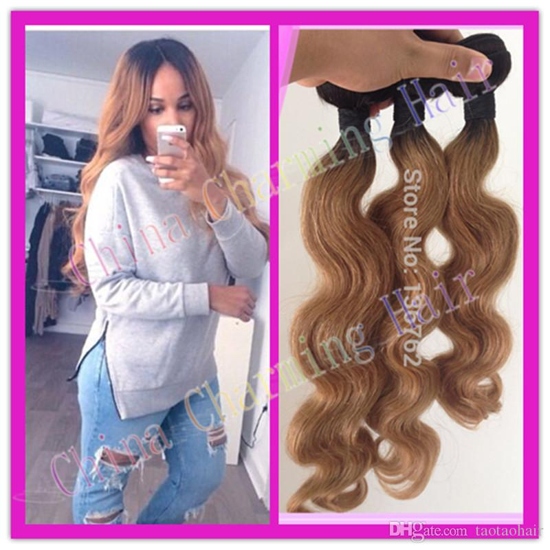 Ombre hair weave best quality grade 7a cheap colored two tone dark ombre hair weave best quality grade 7a cheap colored two tone dark root 1b27 wavy ombre blonde brazilian virgin human hair 1pc lot pmusecretfo Image collections