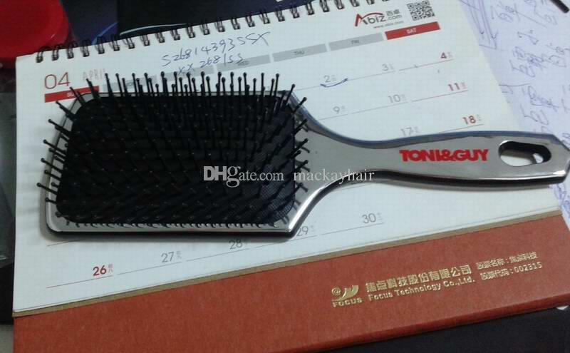 Tony Guy Paddle Brush Combs Hot Sale Salon Tool Silver Color Mirror Smooth Surface Plastic Polybag Packing DHL Freeshipment