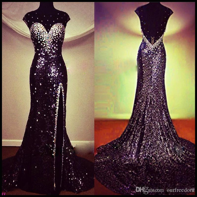 Real Image 2019 Arabic Sexy Backless Sequins Crystal Prom Dresses Beaded Sheer Neck Split Formal Occasion Evening Pageant Celebrity Gowns