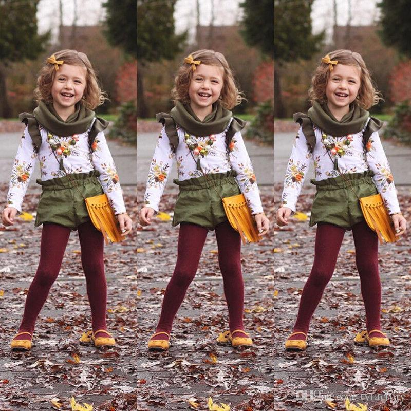 Retro Floral Kids Baby Girls Outfits Clothes Long Sleeve T-shirt Tops +Short Pants Set Ruffle Green Girl Clothing Boutique