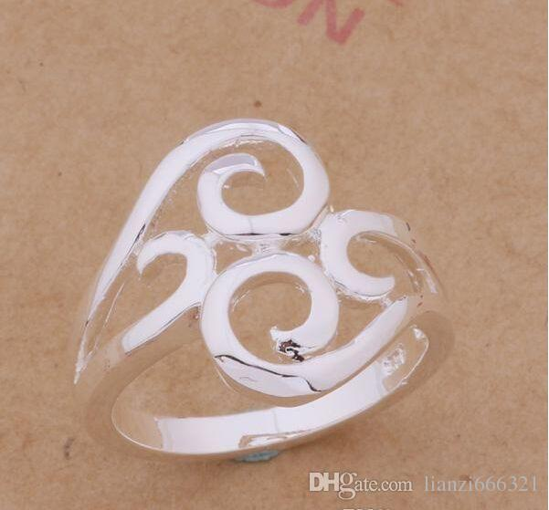 Orden mezclada / 925 plateó los anillos del estilo del partido de la joyería de moda del regalo de Navidad de calidad superior del envío libre 1766