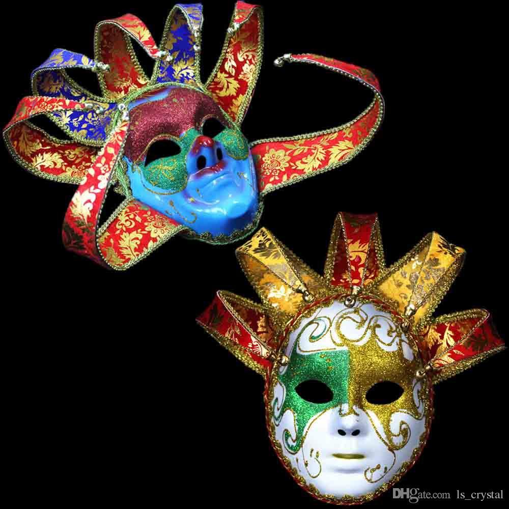 Italy Venetian Masquerade Mask Bright Color Full Face 5 Horn/7 ...