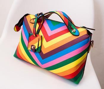 2015 new spring women bags color block rainbow designer handbags