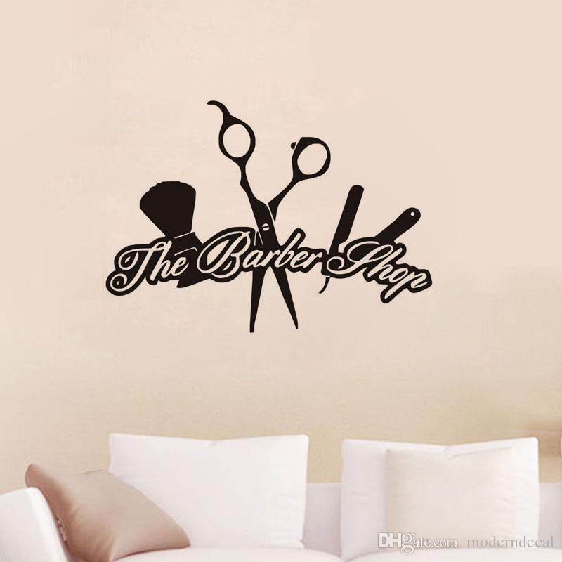 The Barber Shop Wall Stickers Creative Removable Vinyl Wall Decals Hairdressing Barber Tools Sticker Wall Décor From Moderndecal 6 21 Dhgate Com