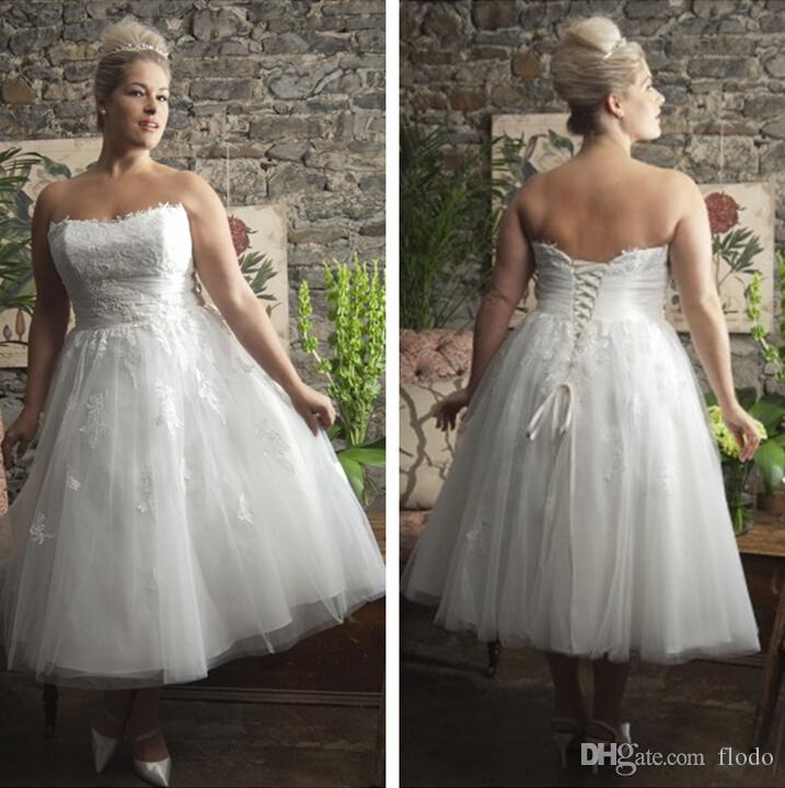 Discount Beaded Lace Plus Size Tea Length Wedding Dresses Cheap