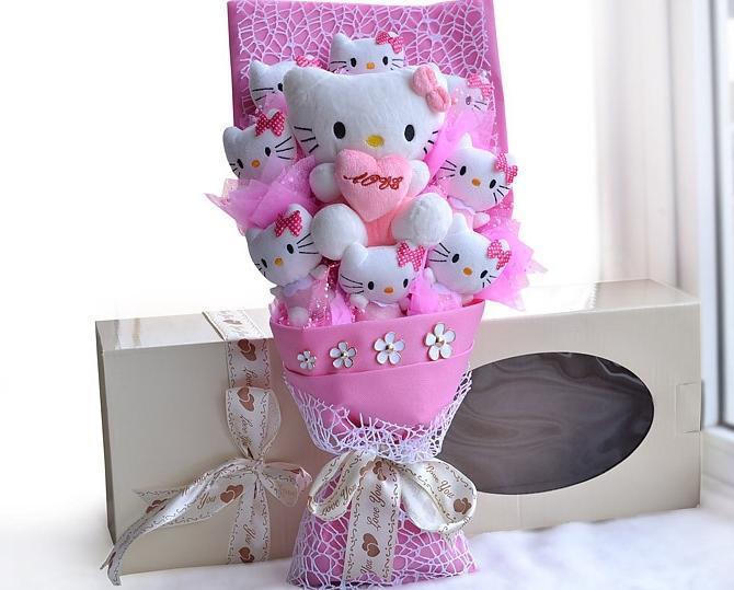 Hello Kitty Wedding Gift: 9 Cotton Pink Hello Kitty Plush Dolls Cartoon Bouquets
