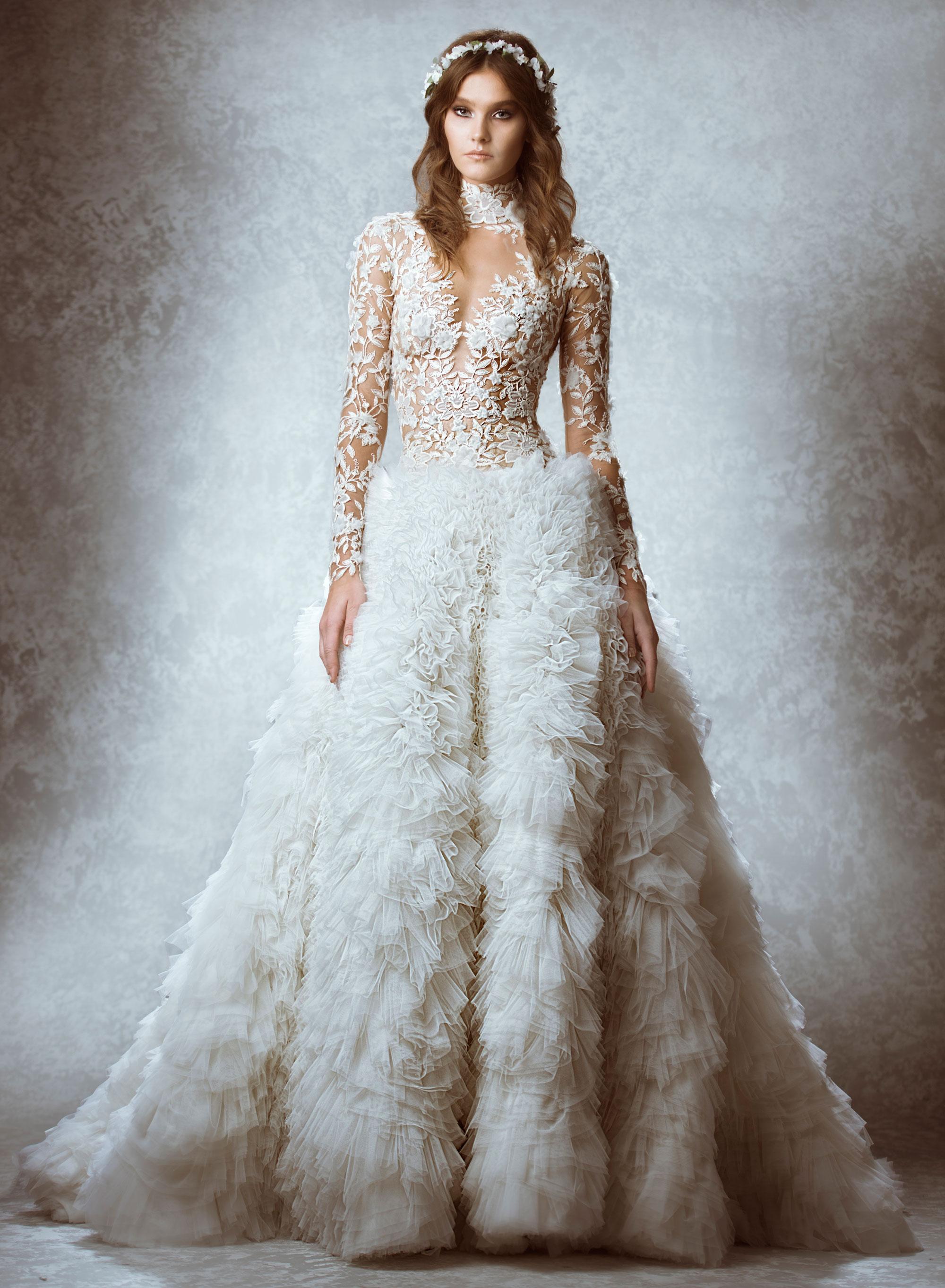 Luxury Wedding Dress Long Sleeve Tulle | Wedding