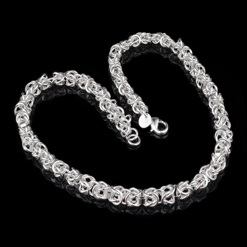 SALE! New 925 Sterling silver Filling Male Faucet Necklace XMAS gifts 7MM 10MM 18 inch fashion jewelry /
