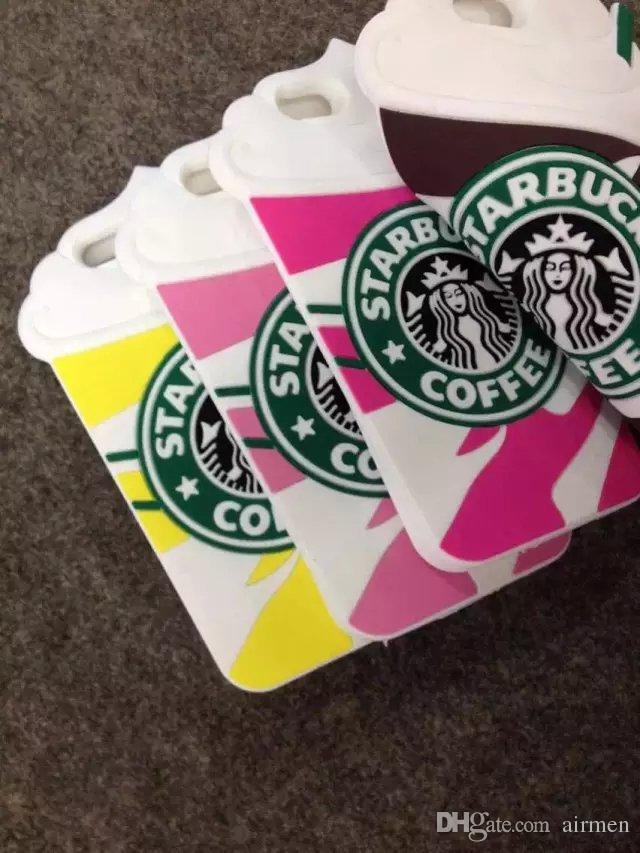 3D Starbucks Coffee Ice Cream Cup Simulation Soft Gel Rubber Silicone Case Cover For iPhone 4 4S 5 5S 6 4.7 6 Plus 5.5 inch case DHL free